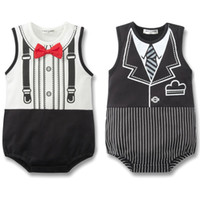 Wholesale Summer Baby Boy Romper Infant Cute Printing Tie Romper Kids Red Bow Tie Triangle Romper Children s One picec Clothes