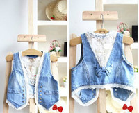 Wholesale Girls high quality denim lace waistcoat children lovely vest Kids fashion tops girls popular clothes lcagmy