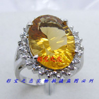 Men's Sterling Silver Natural crystal / semi-precious stones Lucky S925 Silver Coated Natural Citrine ring Wangcai sterling silver women ring wife Mother's Day G