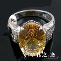 Men's Sterling Silver Natural crystal / semi-precious stones S925-plated sterling silver natural citrine ring women rings wealth girlfriend Crystal Mother's Day