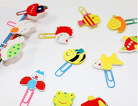 Wholesale 180pcs paperclips bookmarks binder clips stapler cartoon wooden coloured drawing animal free ship