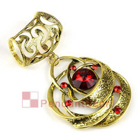 Wholesale 2PCS Top Fashion Spiral Style Ruby Red Glass Antique Bronze Alloy Jewellery Necklace Scarf Pendant Set Charm AC0191