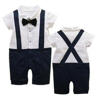 Suspender 0-1T Unisex Summer Classic Baby Boy Girl's Romper Infant Gentleman Suspender Short Sleeves Bow Tie Romper Kids One-piece Clothes