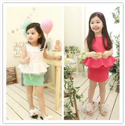 Wholesale Phelfish Girl Dresses Sleeveless Dresses Children Clothes Coining Lady Dresses Green Red