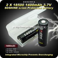 Li-Ion 1400mAh RH-T0074 2PCs lot Soshine 18500 3.7V 1400 mAh Protected Li-ion Rechargeable Battery