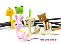 Wholesale Cute animals cable winder Moblie Earphone bobbin winder cable management