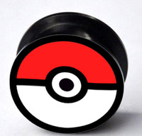 Wholesale Hot selling Pokeball screw ear plug flesh tunnel body jewelry mixing sizes YGEK3868