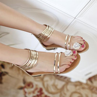 Women gladiator - Casual style rhinestone gladiator sandals solid color flat heel zipper shoes sweet toe covering