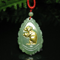 Beaded Necklaces   Elephant pendant stone a jade gold the zodiac mascot a00060