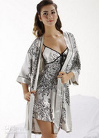 Wholesale 2013 hot selling Silk pajamas Nightgown genuine lovers nightdress Nightgown women s sleepwear M L XL XXL XXXL pink gray color SW014 gk