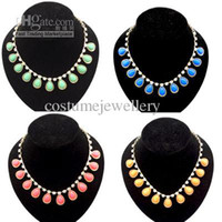 Wholesale New Design Crystal Gemstone Drop Charm Tassels Gold Tone Choker Necklace Color mix color