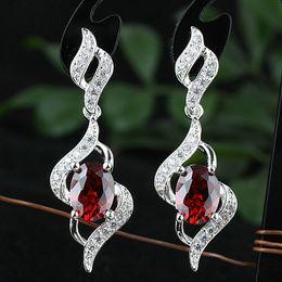 Women Oval Red Garnet Stones Real S925 Sterling Silver Dangle Earrings NAL E085