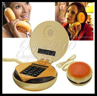 Wholesale New Novetly Juno Hamburger Cheeseburger Burger Corded Phone Telephones Hamburger Shape Telephone