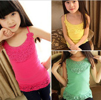 Wholesale 2013 Summer Clothes Wear Grils Lace Hollow Out Candies Tank Tops Girls Sun Top Children T shirt Underwaist B0083