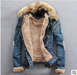 Wholesale 2013 new men s thick fur collar denim jacket denim jacket lovers