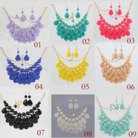 Wholesale Exquisite shiny charm necklace earrings set fashion jewelry LM S027