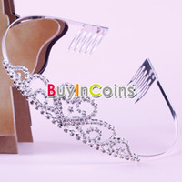 Wholesale Fashion Rhinestone Princess Wedding Crown Headband Tiara Hair Band Jewelry