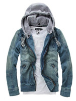 Wholesale 2013 tops cotton Mens Denim jacket Hoodie outerwear hooded Winter hoodie cowboy wear