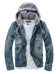 Wholesale 2016 tops cotton Mens Denim jacket Hoodie outerwear hooded Winter hoodie cowboy wear