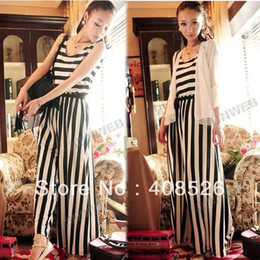 Wholesale Casual Women Retro Black amp White Stripes Jumpsuits Wide Leg Pants Casual Long Trousers Rompers free s