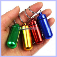 Wholesale Aluminum Keyring Pill Travel WaterProof Box Case Holder Bottle Container with Key Ring Promotion Gift