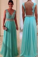 Wholesale Sexy Sleeveless Blue Chiffon Prom Dress Beaded Crystal Lace Top Backless Evening Gown WD0224
