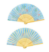 Wholesale Chinese Silk folding Bamboo Hand Fan Fans Art Handmade Flower pattern