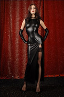 Wholesale Black paint coat Bronzing patent leather dress gown long skirt night club elegant queen Female vampire Sexy amp Erotic Sculpting body shaping