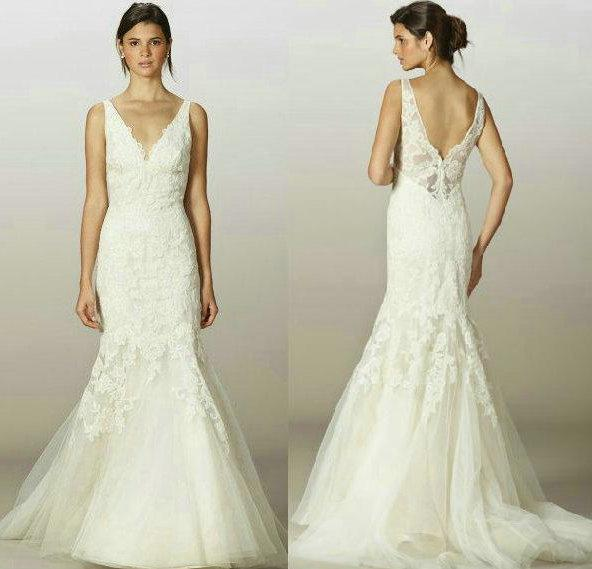 2013 V Neck Backless Lace Wedding Dresses Mermaid V Back Appliques ...