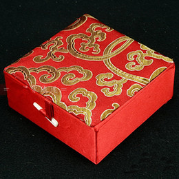 Cotton Filled Decoratel Fashion Bracelet Jewelry Gift Box Display Box Storage Case Silk Brocade Cardboard Craft Packaging Boxes 25pcs lot
