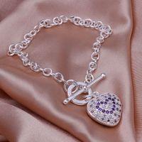 Bohemian amethyst swarovski crystal - New listing latest trend of high quality silver Swarovski Elements Amethyst Heart Bracelet Fashion Jewelry Ladies Specials holiday gift