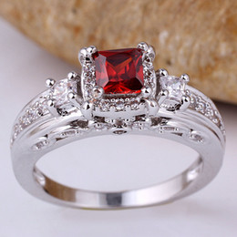 Woman 3-Sq 4X4 Red Garnet Pure Band Right Finger Sterling 925 Silver Ring WEDN R156