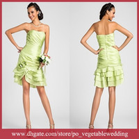 Wholesale Custom Made Simple Floral Embellished Ruffle Short Taffeta Sheath Brdesmaid Dress Sa q910