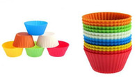 Wholesale 50 Soft Silicone Round Cake Cup Muffin Cases Chocolate Cupcake Liner Baking Cup Mold mould Egg Tart Mould