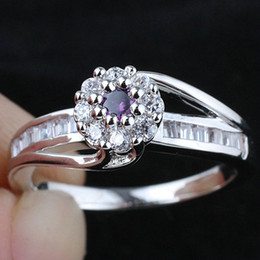 Ladies Purple Amethyst Pure Anniversary Finger Sterling 925 Silver Ring WEDN R160 Size 6.5 7 8 9