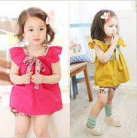 Wholesale Summer New Arrival Fairy Girls Flounced Sleeveless Spot Bow Cute Long T Shirts Adorable Baby Children Tops Clothes Yellow Rose Red