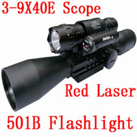 Wholesale Bu X40E Suit Tri Weaver Rail Red and Green Illuminated Reticle Rifle Scope with Red Laser Dot Sight B White Lights Flashlight