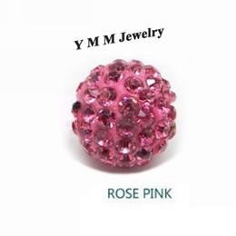10MM Crystal Disco Balls Loose Spacer Beads Rose Pink Pave Rhinestone Beads 50pcs Wholesale