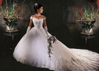 Wholesale NEW Strapless Flower Ruffle Dropped Waist Fluffy Court Cheap Sexy Beach Wedding Dresses Bridal Gown