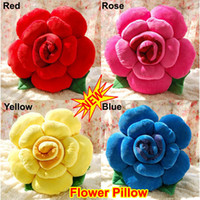 Wholesale Novelty Colorfull Rose Flower Shape Bed Sofa Chair Car Seat Nap Throw Cushion Lumbar Pillow Lover Wedding Gift Present Party Decor Toy