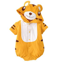 Wholesale Summer Baby Boy Romper Infant Yellow Cute Tiger Design Romper Kids Cartoon Fashion Rompers Children s One piece Clothes
