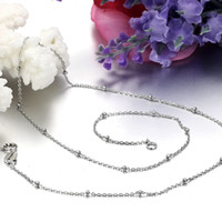 Wholesale REAL STERLING SILVER CHAIN WOMEN S JEWELRY BEAD ROLO CHAIN NECKLACE