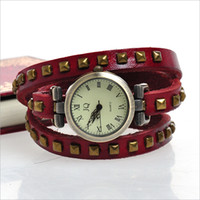 Wholesale promational women punk square rivet cow leather watch