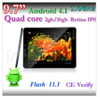 """9.7 inch Quad Core Android 4.1 2013 NEW Supper slim 9.7""""Quard core android 4.1 2GB 16GB External 3G and hdmi dual camera 2048*1536 tablet pc 6pcs in China"""
