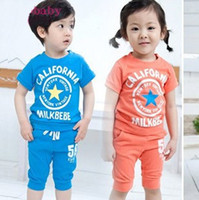 Cheap HOT 2013 baby boy girl short sleeve summer suits boys girls summer set clothing two pieces 5set lot free shipping -46