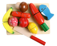Wholesale Play house wooden toys colorful emulational vegetable cut fruit and vegetables game