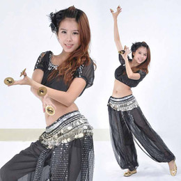 Wholesale 3pcs set BELLY DANCE COSTUME CHIFFON GOLD COIN TOP HAREM PANTS HIP SCARF SUIT