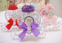 Wholesale Holiday wedding metal flower Heart hollow carriage bow Candy box Favor Holders