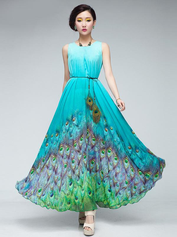Peacock Print Maxi Dress