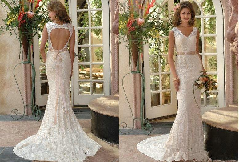 Vintage Lace Backless Wedding Dresses 2013 Online Mermaid V Neck ...
